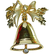 Glamorous Vintage Christmas Bell Brooch