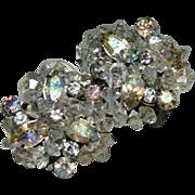 Eugene Signed Rhinestone & Crystal Cluster Earrings