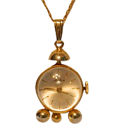 Rare Vintage Hawthorne Swiss Bubble Skeleton Watch ~ Pendant Gold Filled Chain 20""