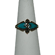 Exotic Gold Wash over Brass Turquoise Double Heart Ring sz 4.25
