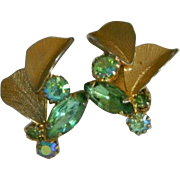 Glorious Lime Green Rhinestone Fall Earrings