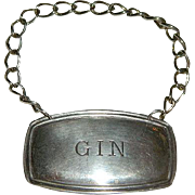 English Silver Gin Bottle Label