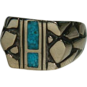 Edgy Men's Vermeil Turquoise Chip Ring sz 9