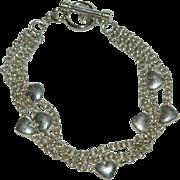 Gorgeous Sterling Silver Heart Multistrand Chain Bracelet