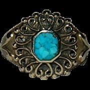 Sublime Vermeil Turquoise Victorian Revival Ring sz 4.5