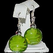 Lime Green Murano Glass Art Glass Bead Earrings