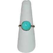 One of a Kind Campitos Turquoise Sterling Silver Ring ~ Round Cab Sz 8.5