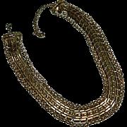Impressive Coro Triple Strand Etruscan Revival Fancy Chain Necklace