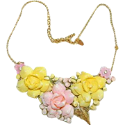 Handmade Floral Collage Necklace ~ by Jackie O