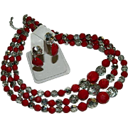 Romantic Blood Red & Chrome Silver Beaded Multi Strand Necklace & Earring Set
