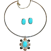 Stunning Etruscan Revival Collar Necklace & Earring Set