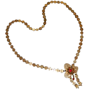 Antique Victorian Rose Gold Red Spinel Book Chain Pendant Tassel Necklace