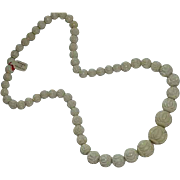 Early French Celluloid Deeply Carved Beaded Necklace