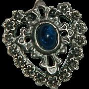 Sterling Silver Cobalt Blue Cab Heart & Cross Pendant