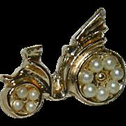 Cute Whimsical Figural Early Moped Bike Brooch