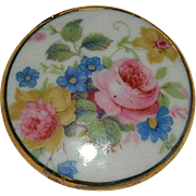 Edwardian English Rose Porcelain with 24K Gold Painted Edge Brooch