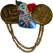 WWII Era Collage Button Brooch ~ Patriotic American History