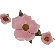 WWII Era Pink Fabric Hand Made Floral Brooch & Earring Set