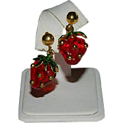 Rare! Forbidden Fruit Dangling Strawberry Earrings