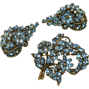 Hollycraft Copr. 1953 Light Sapphire Rhinestone Brooch and Earring Set