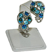 Splendid Bright Blues Rhinestone Earrings