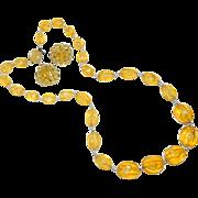 Vintage Japan Import Lemon Yellow Lucite Beaded Necklace & Earrings Set