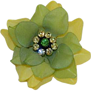 Stunning Frosted Lucite Pale Green & Bright Yellow Rhinestone Floral Brooch