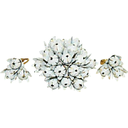 Grand White Black Enamel Flower Bud Spray Brooch & Earring Set