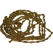 "Crown Trifari Gold Plated Twist Rope Chain 32"""
