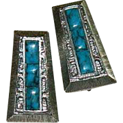 Rare! Whiting & Davis Faux Turquoise Egyptian Revival Earrings
