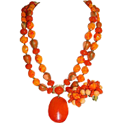 Rich Oranges and Reds Hong Kong Import Faux Art Glass Lucite Beaded Necklace & Earring Set