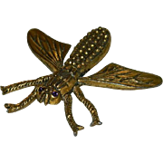 Impressive Art Deco Period Large Brass Rhinestone Fly Bug Brooch