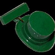 Early Plastics Green Celluloid Top Hat Leprechaun Pin Brooch
