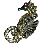Art Deco Pot Metal Paste Stone Sea Horse Brooch