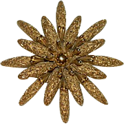 Monet Rich Gold Tone Flower Brooch