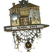 "One of a Kind ""School Days"" Hand Made Mixed Metals Collage Brooch"