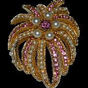 BSK Best Pink Rhinestone Faux Pearl Fireworks Brooch