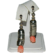 Hand Carved Angel Skin Coral Sterling Silver Dangler Earrings