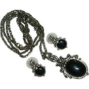 Romantic Victorian Style Black on Silver Pendant & Earrings Set