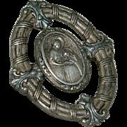 Antique Religious Fine Silver Medallion Brooch Pin
