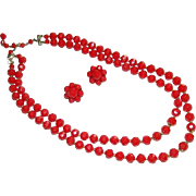 Dramatic Cherry Red Faceted Hong Kong Lucite Beaded Double Strand Necklace & Earring Set