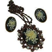 Fabulous Celluloid Floral Cameo Pendant Necklace & Earring Set