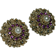 Dramatic Edwardian Cupcake Design Purple Stone Earrings