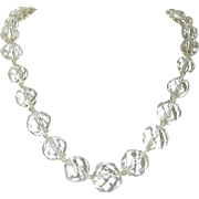 "Hand Knotted Faceted Rock Crystal 18"" Necklace"