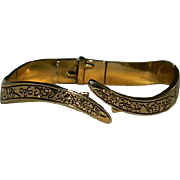 1960'sEtched Gold Tone Clamper Bracelet
