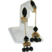 Old Hollywood Glam! Long Black Rhinestone Filigree Drop Dangler Earrings ~ A