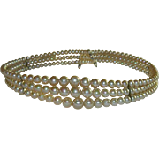 Unmarked Miriam Haskell Fish Scale Faux Pearl Memory Wire Choker ~A