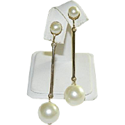 Drop Dead Gorgeous! Mad Men Era Faux Pearl Long Drop Earrings ~A