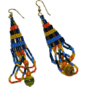 Handmade Native American Seed Bead Dangler Earrings ~A