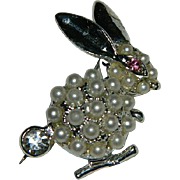 Funny Jeweled Large Bunny Rabbit Brooch
